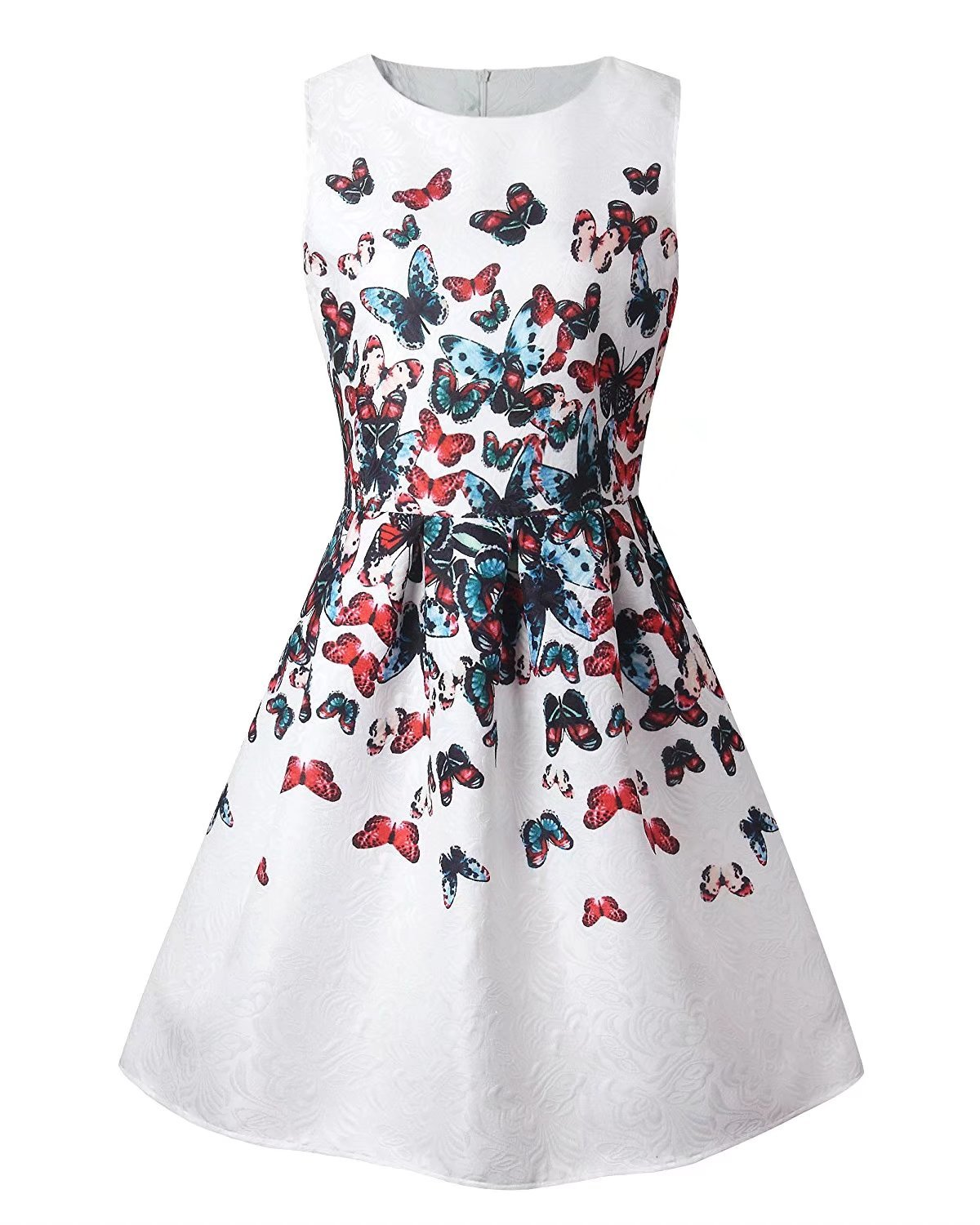 Girl Sleeveless Floral Butterfly Print Cute Tank Mini A Line Skater Dress, 9-10 Years / Tag 150