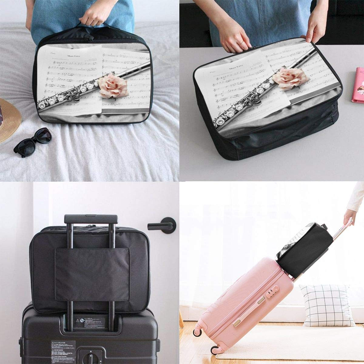 Lightweight Large Capacity Portable Luggage Bag Pink Rose And Flute Travel Duffel Bag Backpack