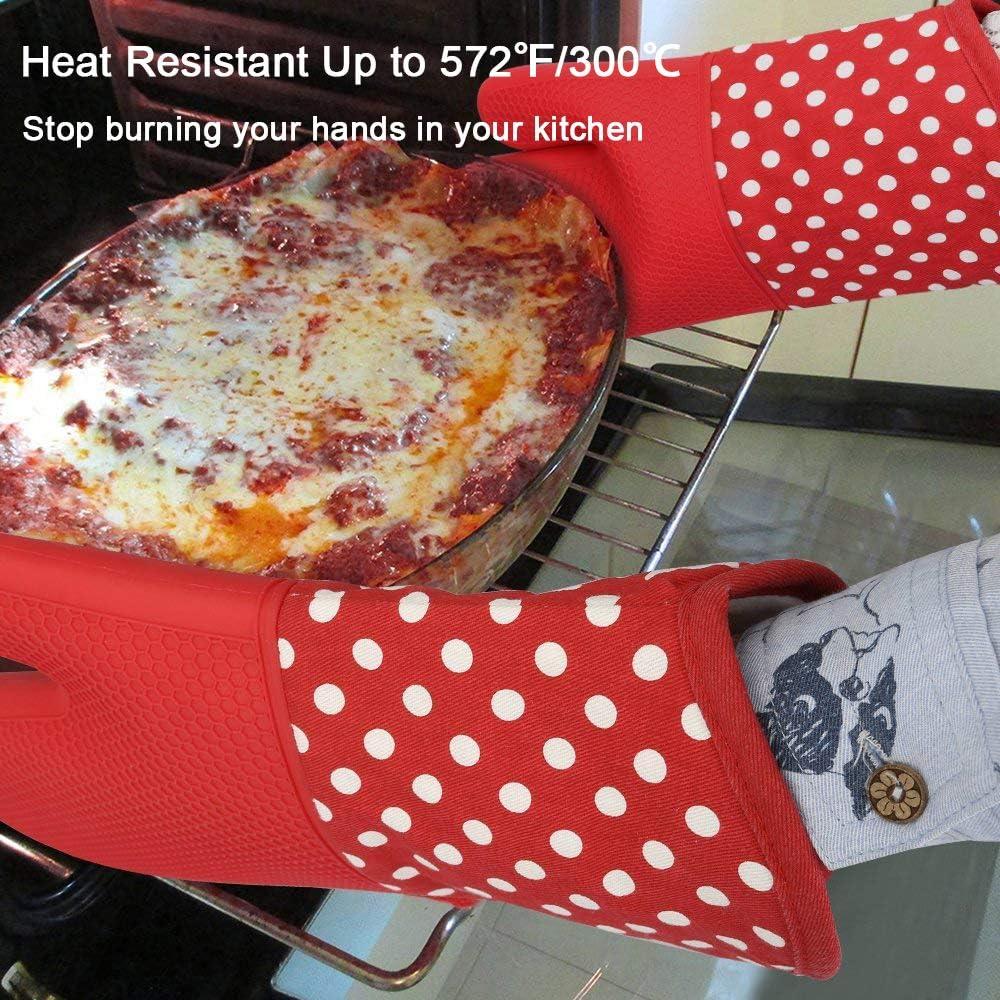 Microondas Barbacoa Guantes de Cocina Resistentes al Calor y Manteles Aislados Manoplas de Cocinar Antideslizante de Silicona para Hornear Gris TRUBUY Guantes de Horno Parrilla