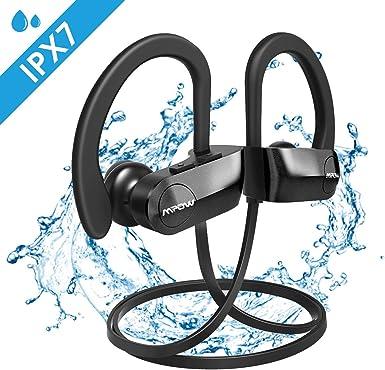 Mpow Auriculares Bluetooth IPX7, Inalámbricos In Ear Cascos Deportivos con Micrófono Auricular Manos Libres Cancelación de Ruido CVC 6.0 para iPhone