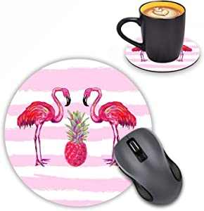 Round Mouse Pad with Coasters Set, Tropical Pattern with Flamingo and Pineapple Design Mouse Pad Non-Slip Rubber Mousepad Office Accessories Desk Decor Mouse Pads for Computers Laptop