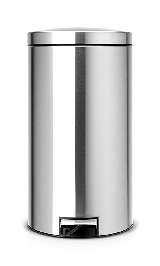 Brabantia Pedal Bin - Cubo de Basura, 2 x 20 litros, Dos compartimientos para Reciclaje, Acero Mate Anti-Huellas