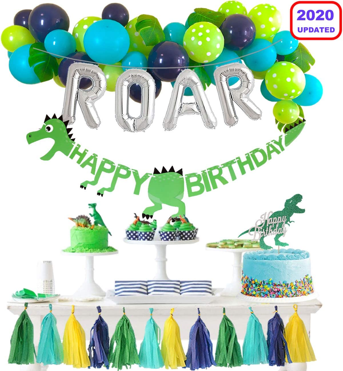 Dinosaur Party Decorations Balloons Garland Kit with Silver ROAR Foil Balloon and Cute Jungle Theme Tassels for Boys 1 2 3 4 Birthday Party Supplies Baby Shower Backdrop Decor