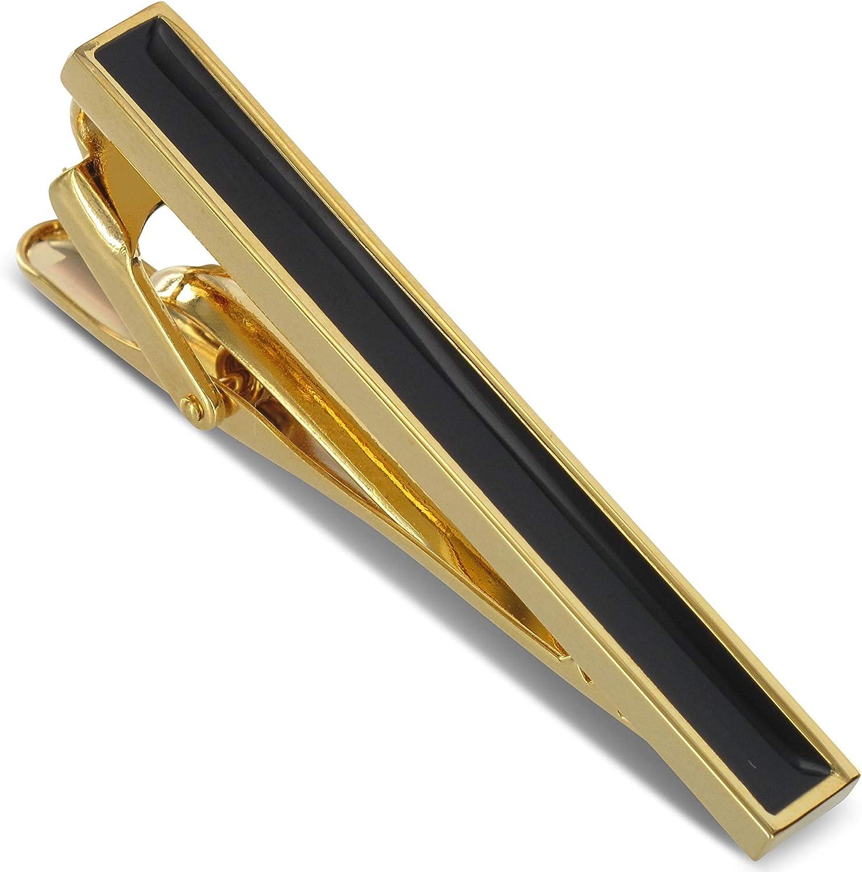Teroon - Pinza para Corbata o Corbata, Color Dorado con Rayas ...