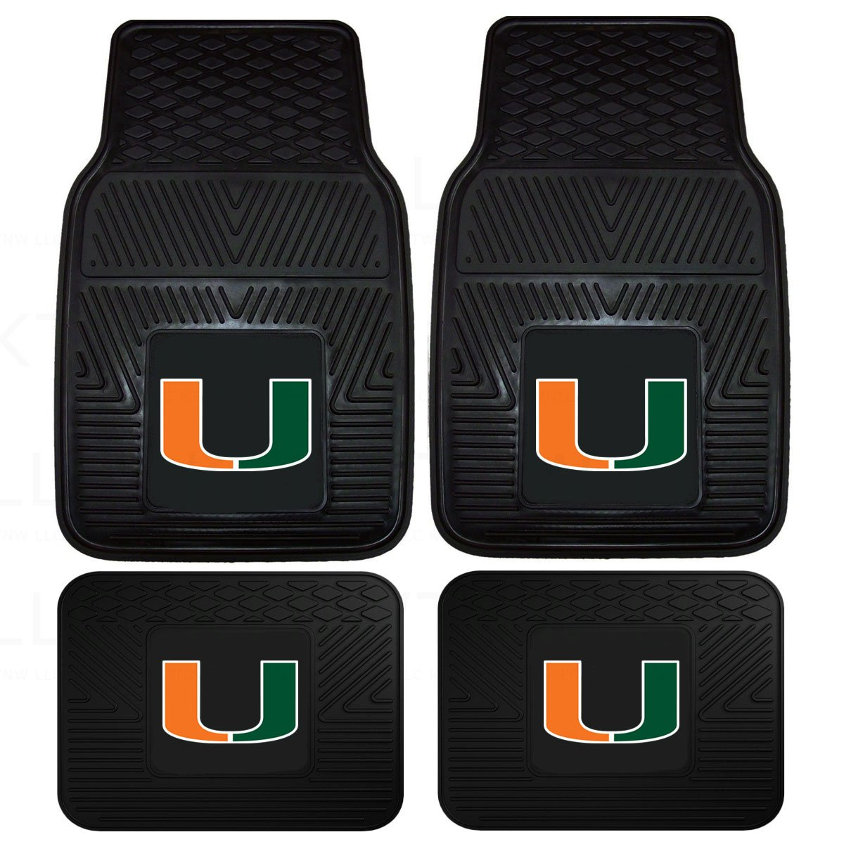 Officially Licensed NCAA Set of Universal Fit Front and Rear Logo Rubber Automotive Floor Mats Univeristy of Miami Hurricanes
