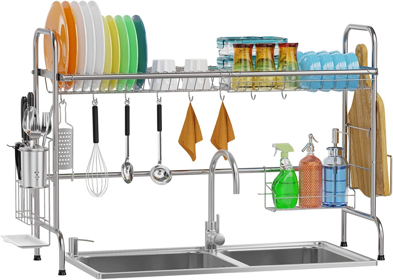 Over Sink Dish Rack, GSlife Kitchen Over Sink Shelf Stainless Steel Over the Sink Drying Rack, Silver