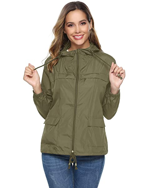 2551cdabc Abollria Women Lightweight Waterproof Raincoat Windbreaker Rain Jacket  Outdoor Hooded Trench Coats