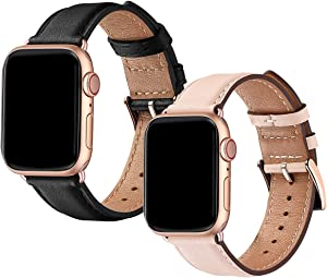 OMIU Square Bands Compatible for Apple Watch 42mm 44mm 38mm 40mm, Genuine Leather Replacement Band Compatible with Apple Watch Series 5/4/3/2/1 Edition