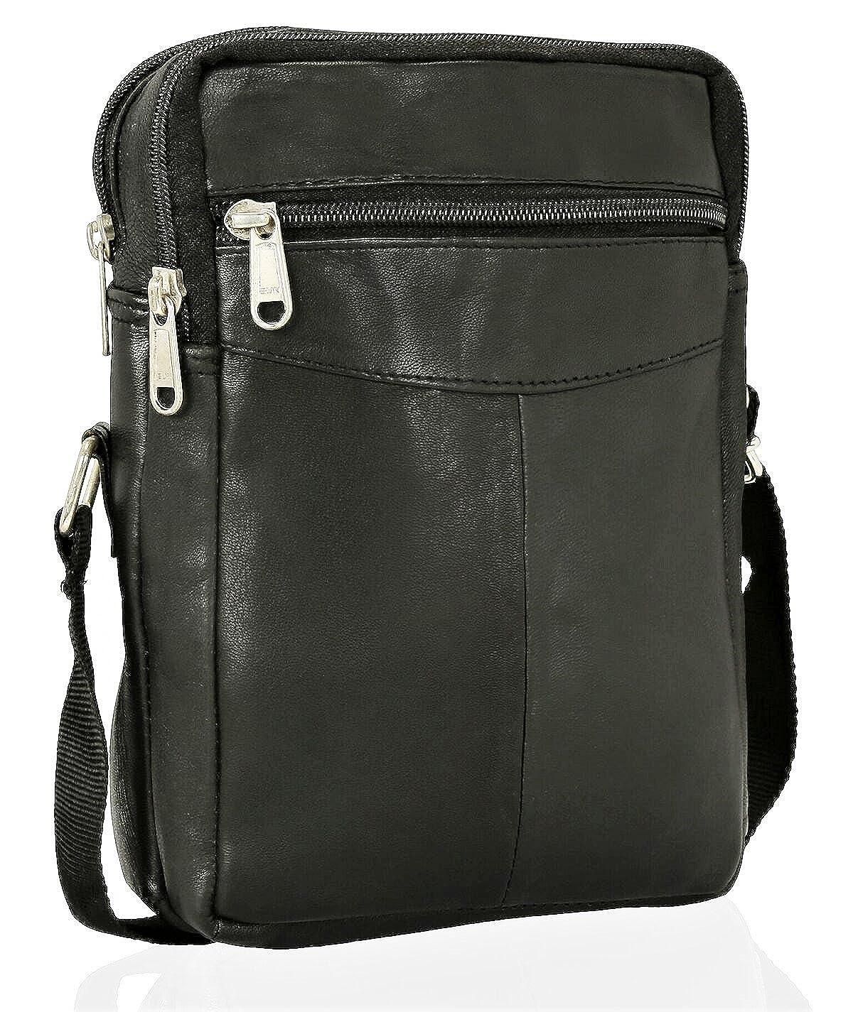 Real Leather Man Bag Mens/Ladies Unisex Shoulder Bag Cross Body Messenger Bag Travel Holiday Mobile Phone Organizer