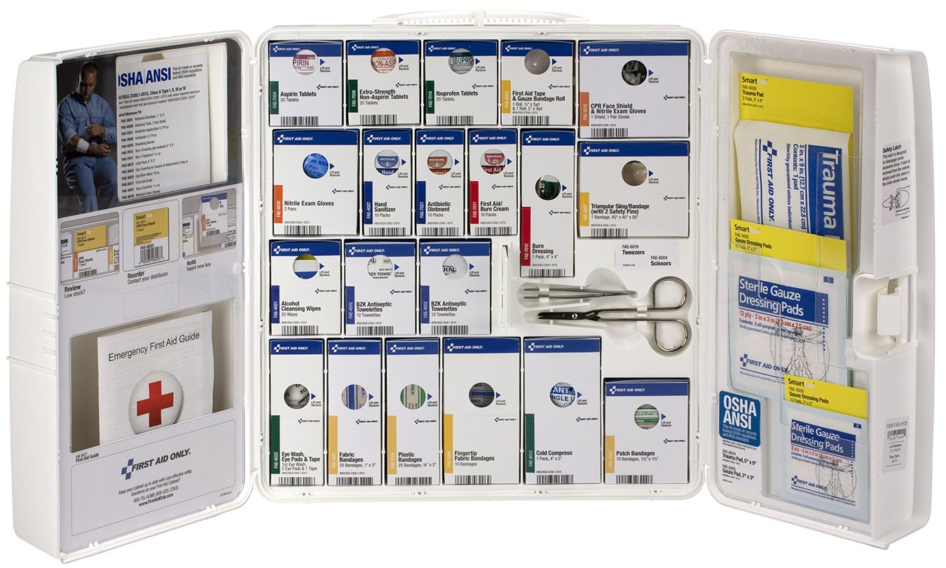 First Aid Only 90608 ANSI 2015 Compliant Large Plastic SmartCompliance First Aid Cabinet with Medications