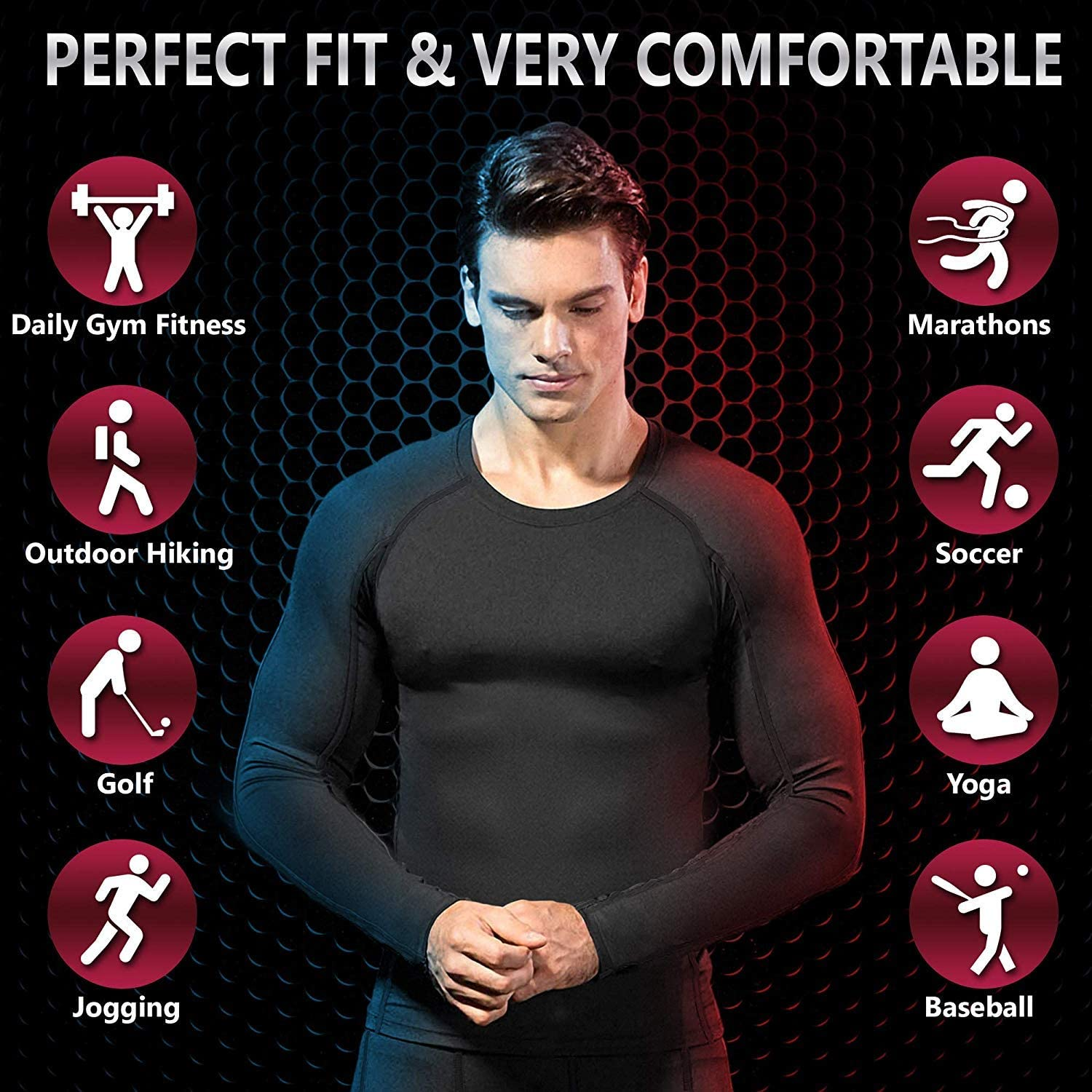 Self Pro Men Thermal Compression Athletic Sports Ultra Soft Fleece Lined Long Sleeve Cold Weather Winter Warm Base Layer Top at  Men's Clothing store