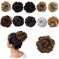 Messy Hair Bun Extensions Hair Piece Curly Wavy Scrunchies Synthetic Chignon with Elastic Rubber Band Ponytail Hairpiece…