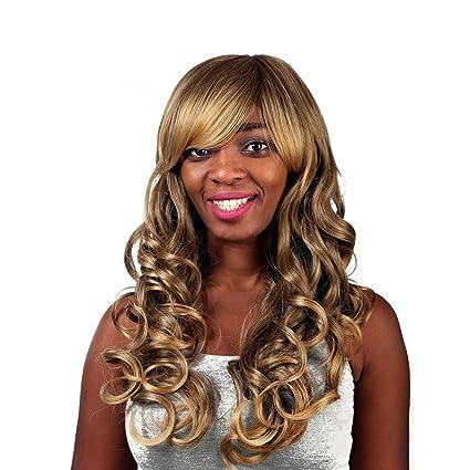 Oro encantadora sintética belleza Vogue Comfort Bob pelo, mujeres elegantes curling pelucas naturales como el