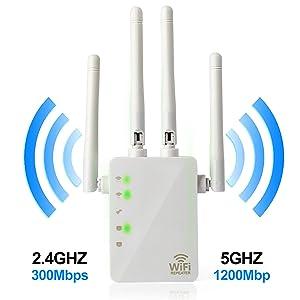 5GHz WiFi Range Extender - 1200Mbps WiFi Long Range Extender Repeater/Access Point/Router Dual Band Wireless Signal Booster & Gigabit Ethernet Port WiFi Range Amplifier 4 External Antennas (Color: 1200Mbps, Tamaño: 5G WiFi Range Extender 1200Mbps)