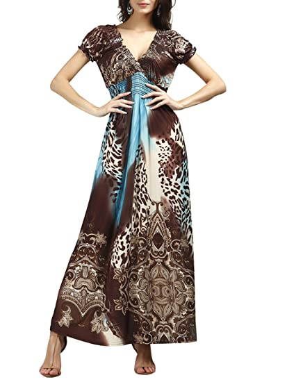 0368c448aae Bikinx Women s Boho Beach Dress Empire Waist Long Maxi Dress Leopard Print  Wrap