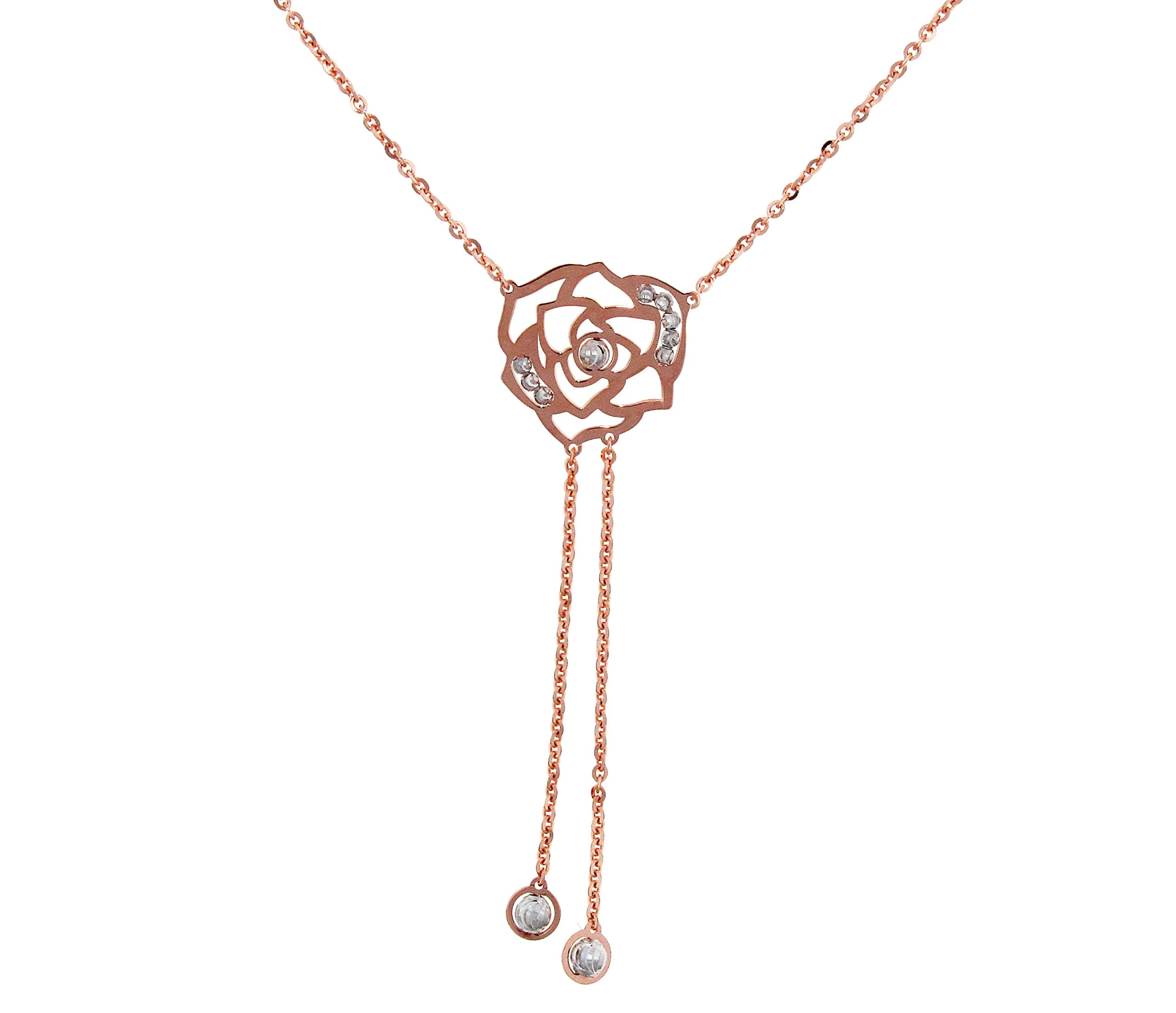 Officina Bernardi Sterling Silver with Pink Rosa Necklace (16)