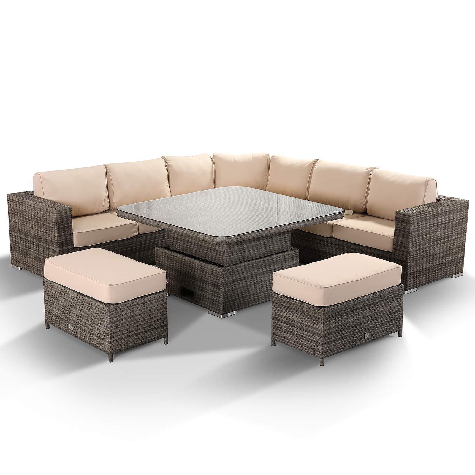 Rattanpark Outdoor Rattan garden Furniture Cambridge Range Round Corner  Sofa Set with Rising Table in Grey