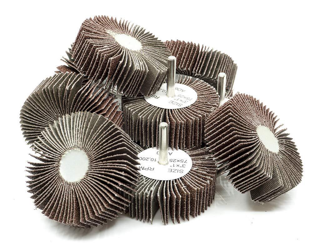3'' x 1'' x 1/4'' Shank Mounted Aluminum Oxide Flap Wheels 60 Grit - 10 Pack