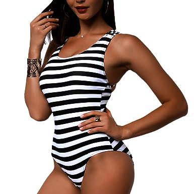 dd2e973e37a7b Sexy Women Black   White Stripe Criss Cross Back Bikini One Piece Monokini  Bathing Suit Swimwear