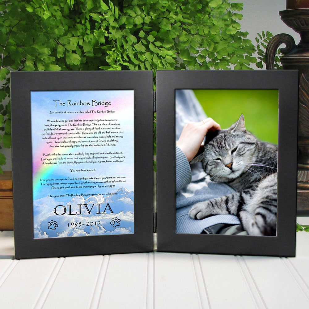 Amazon pet memorial picture frame rainbow bridge poem amazon pet memorial picture frame rainbow bridge poem personalized with pets name sculpted metal matt pewter double frame holds 4x6 photo poem jeuxipadfo Image collections