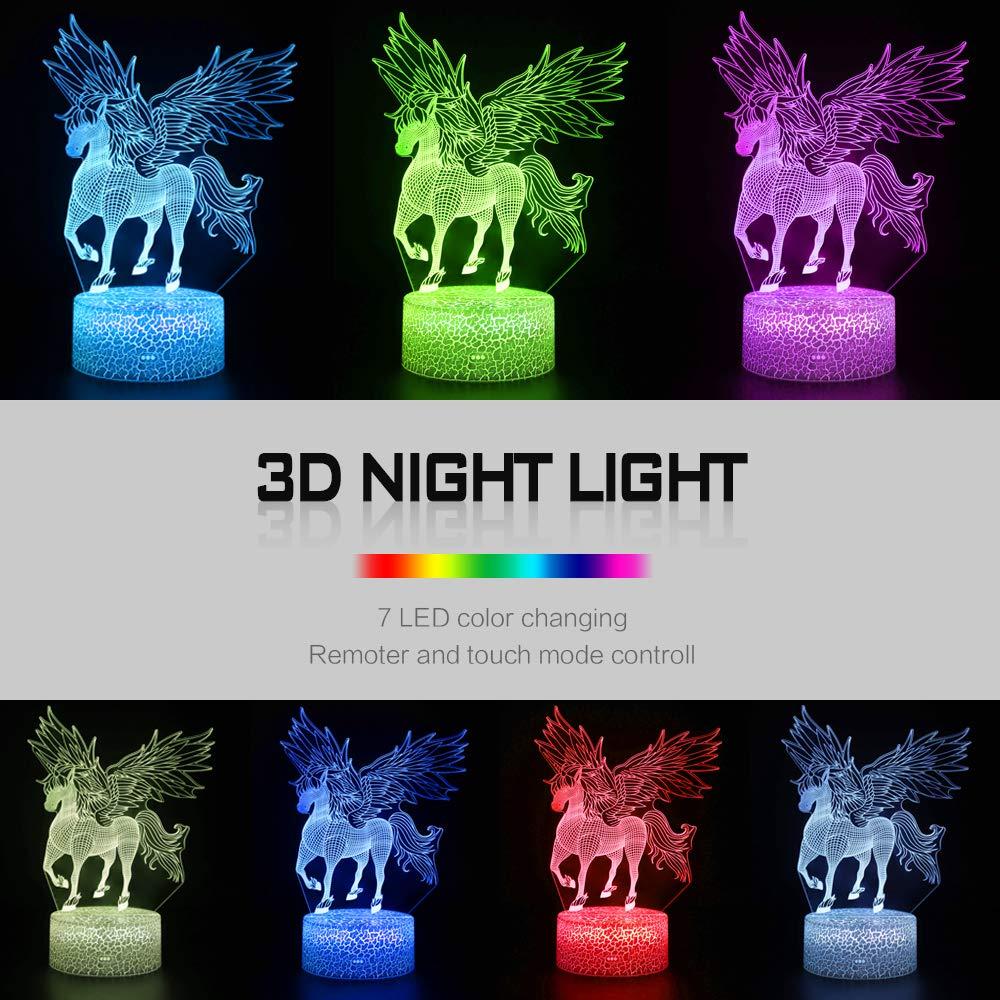 Navidad Regalos de Mujer Bebes Hombre Ni/ños Amigas Decoracion Cumplea/ños QiLiTd Regulable L/ámpara de Noche de Atm/ósfera Modo RGB LED L/ámpara de Mesa 3D Sirena con Control Remoto Sensor Tacto