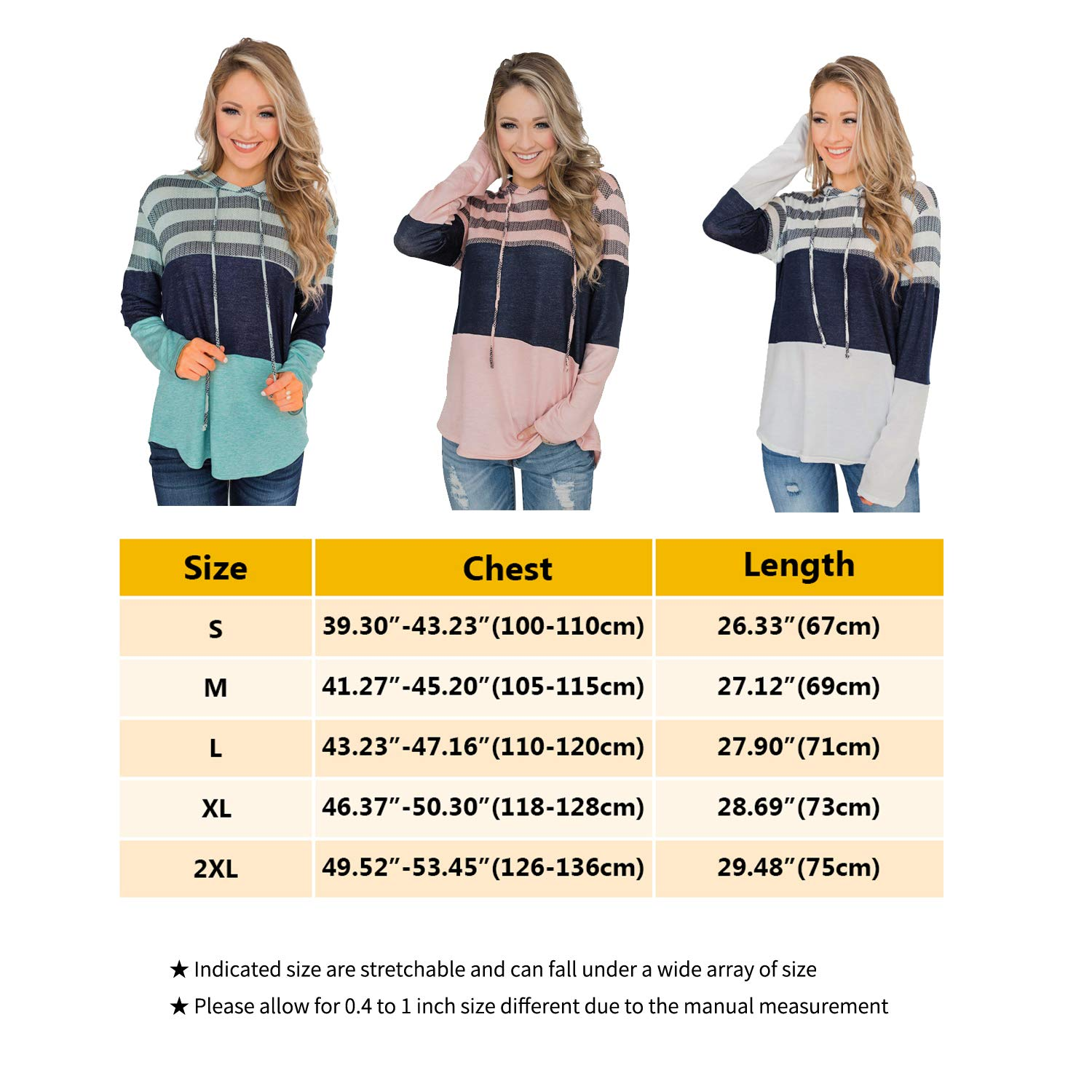 Women\'s Hoodies Pullover Color Block Sweatshirt Striped Long Sleeve Drawstring Hooded Sweatshirts Casual Tops for Women Pink