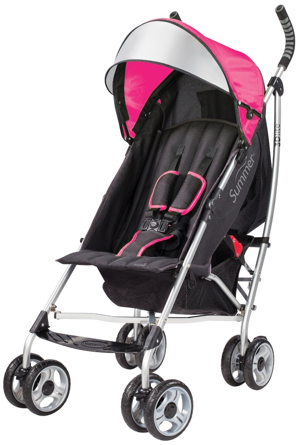 Summer Infant 3D Lite Convenience Stroller with 20 Ounce Flavor Infusing Water Bottle, Pink