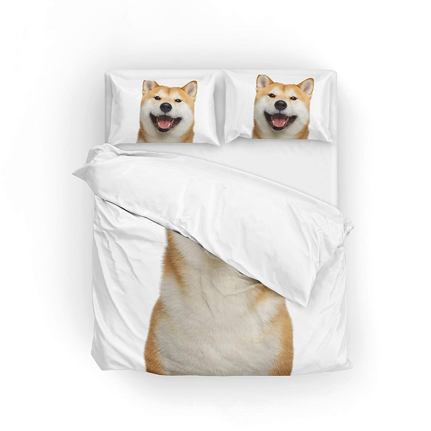 My Daily Smiling Shiba Inu Dog Duvet Cover Set Microfiber Polyester Quilt Bedding Set Twin/Single