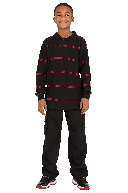 Vibes Boys Long Sleeve Polo Shirt Black /& Red Yarn Dye Stripe Cotton Pique