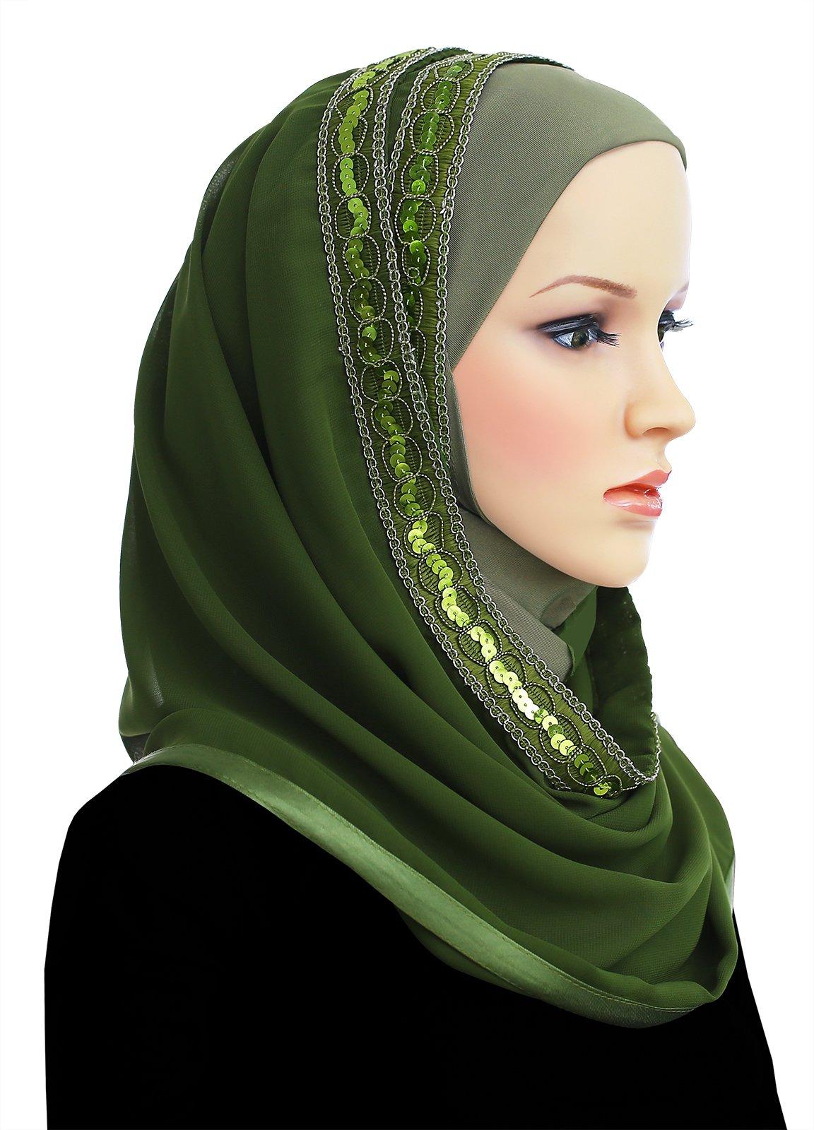 Muslim Women's Luxor Wrap Hijab Kuwaiti Mona (Green)