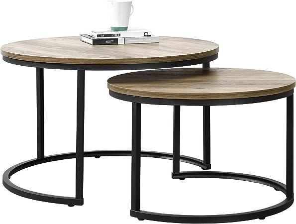 En Casa Set De 2 Tables Basses Rondes Gigognes Table De Salon