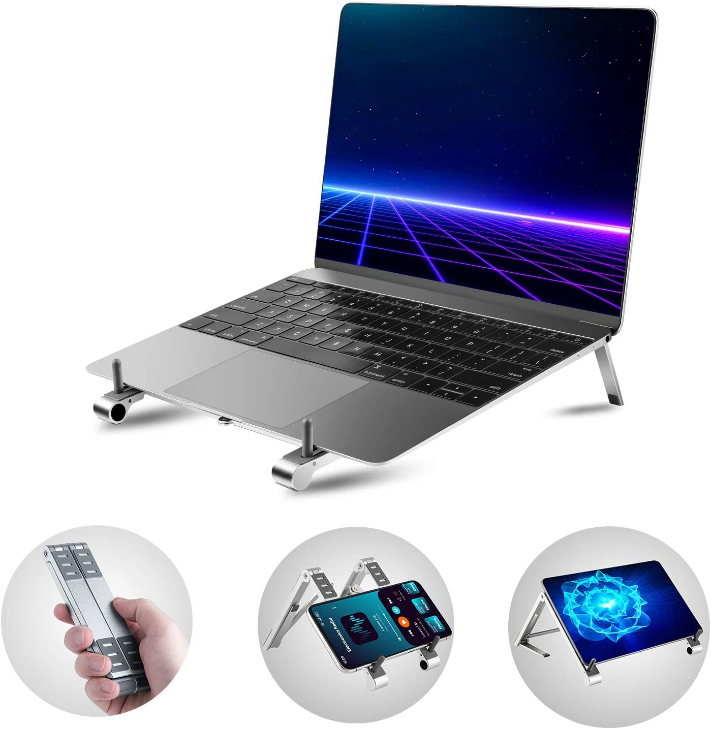 IDEALCRAFT Portable Laptop Stand, Fully Foldable Adjustable Tablet Phone Stands Holder, 3-in-1 Compatible with MacBook iPad and iPhone, FTS-150 Silver