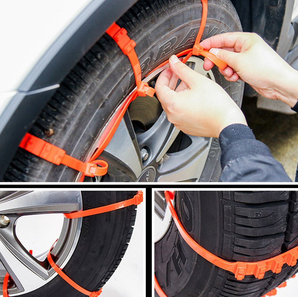 Amazon.com: 10Pcs Anti-Skid Chains Adjustable Emergency Tire Chains for Winter Ice Car Snow Mud Wheel (Orange): Baby