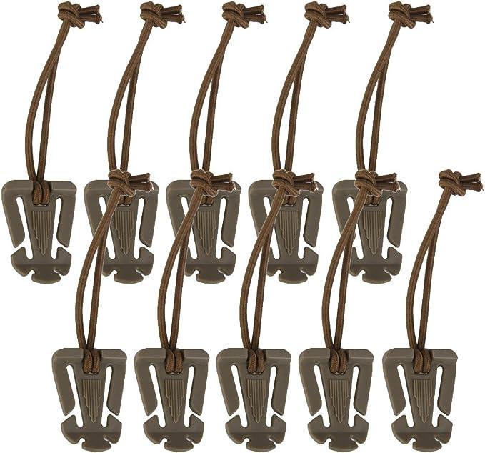 10pcs Tactical Molle Elastic Tie-down Cordons /élastiques Sangle mousqueton Boucle Clip EDC Outdoor Nylon Noir
