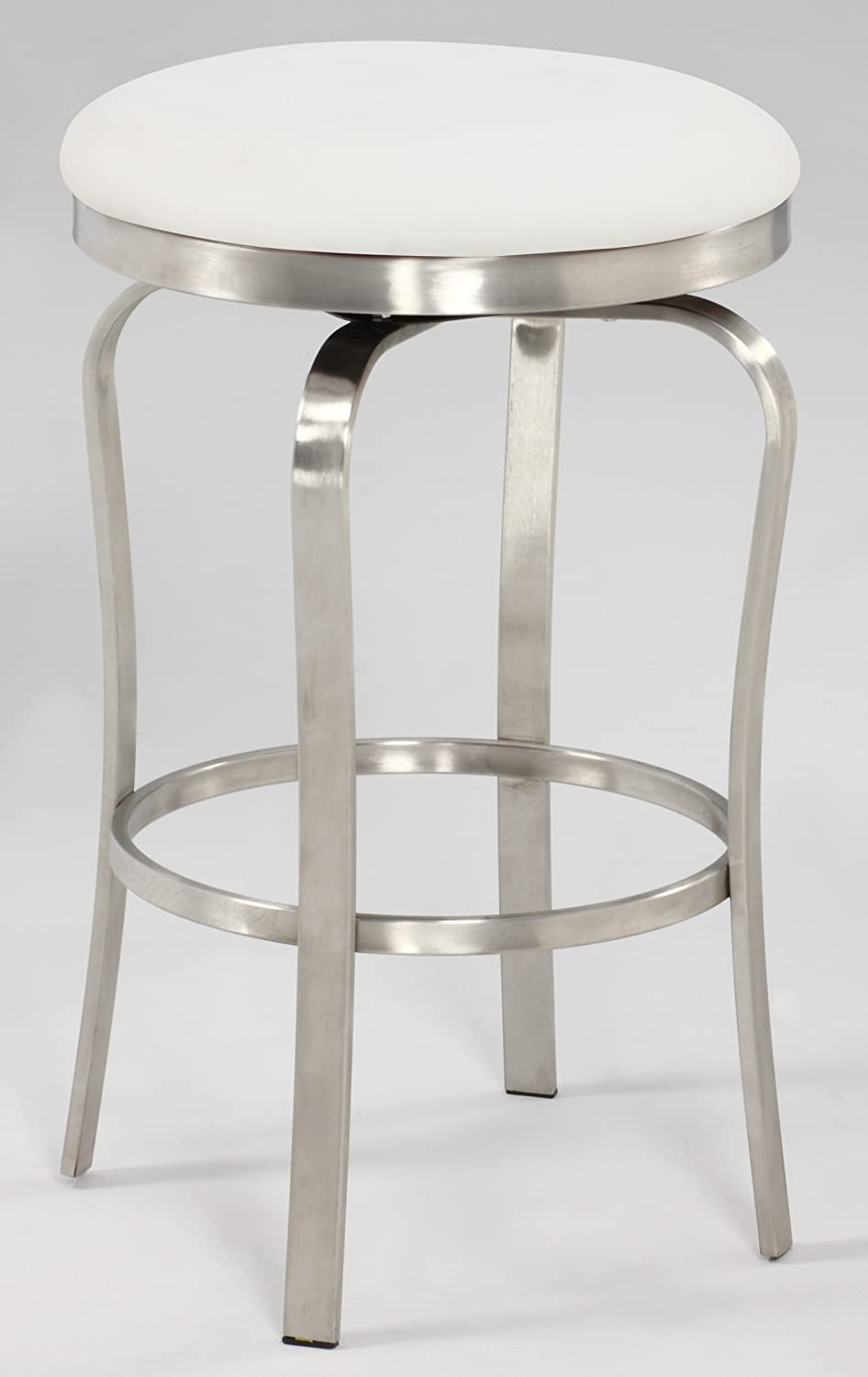 Amazon.com Chintaly Imports 1193 Modern Backless Counter Stool Brushed Stainless Steel/White PU Kitchen u0026 Dining & Amazon.com: Chintaly Imports 1193 Modern Backless Counter Stool ... islam-shia.org