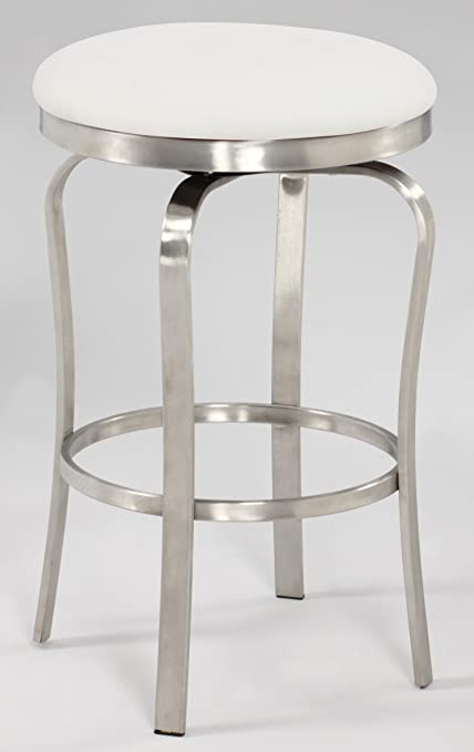 Chintaly Imports 1193 Modern Backless Counter Stool Brushed Stainless Steel White Pu