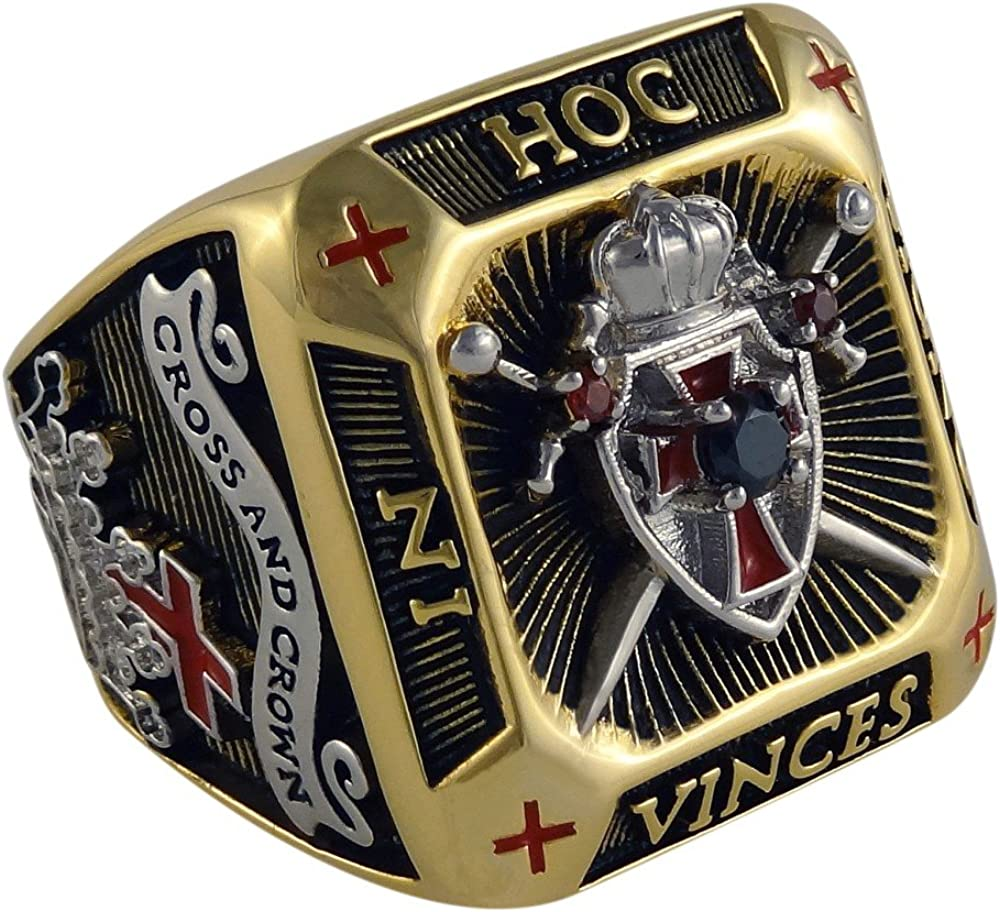 UNIQABLE Knight Templar Masonic Ring 18k Gold PLD Shield & Sword Yellow Version 45 Gr Handcrafted BR-3