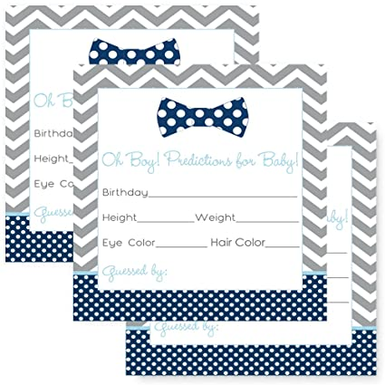 Bow Tie Baby Shower Predictions Cards Set of 25 Fill-In Games