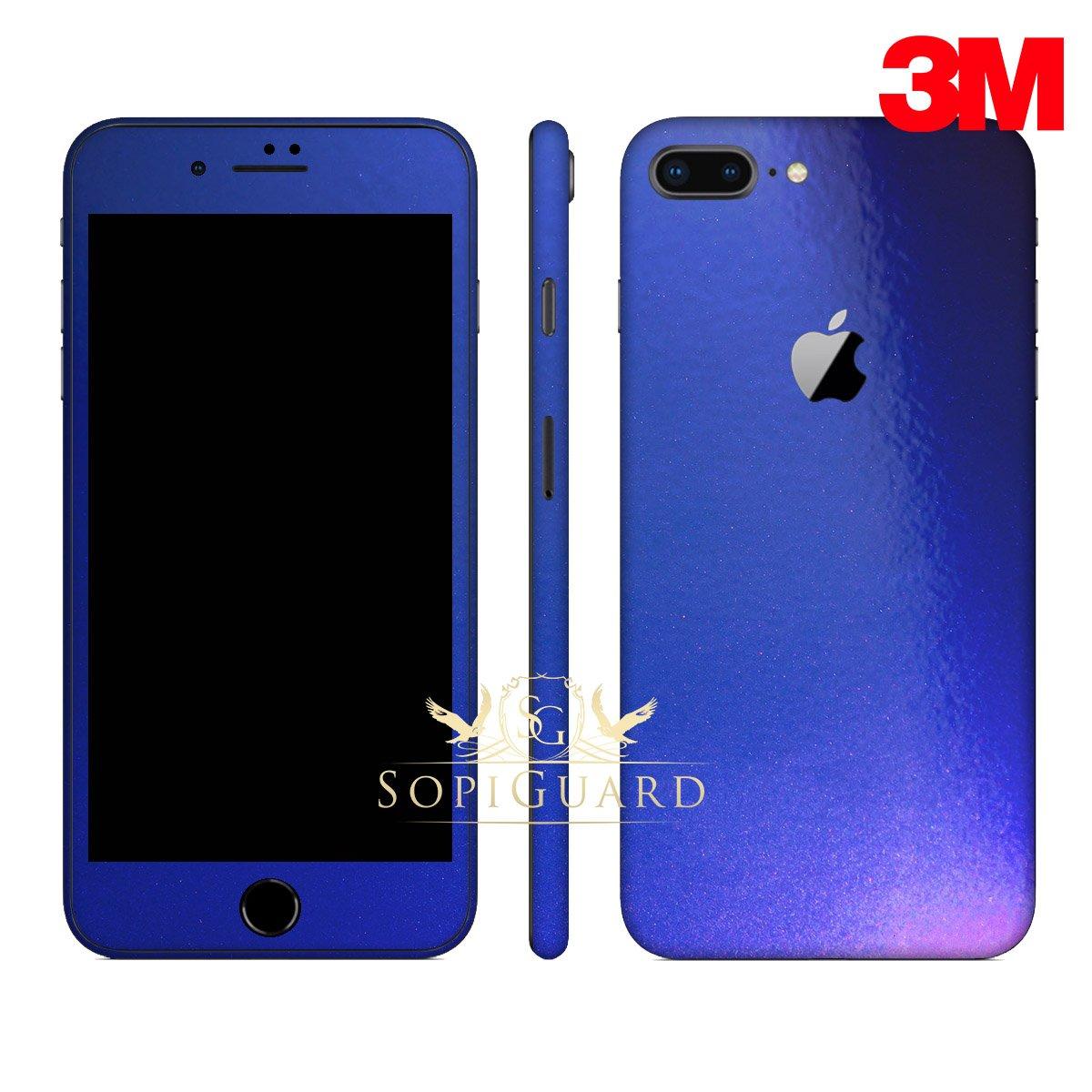 SopiGuard Iphone 8 plusカーボンファイバーフルボディPrecision edge-to-edge coverage easy-to-applyビニールスキンステッカー B075WTKHLT 3M Flip Electric Blue