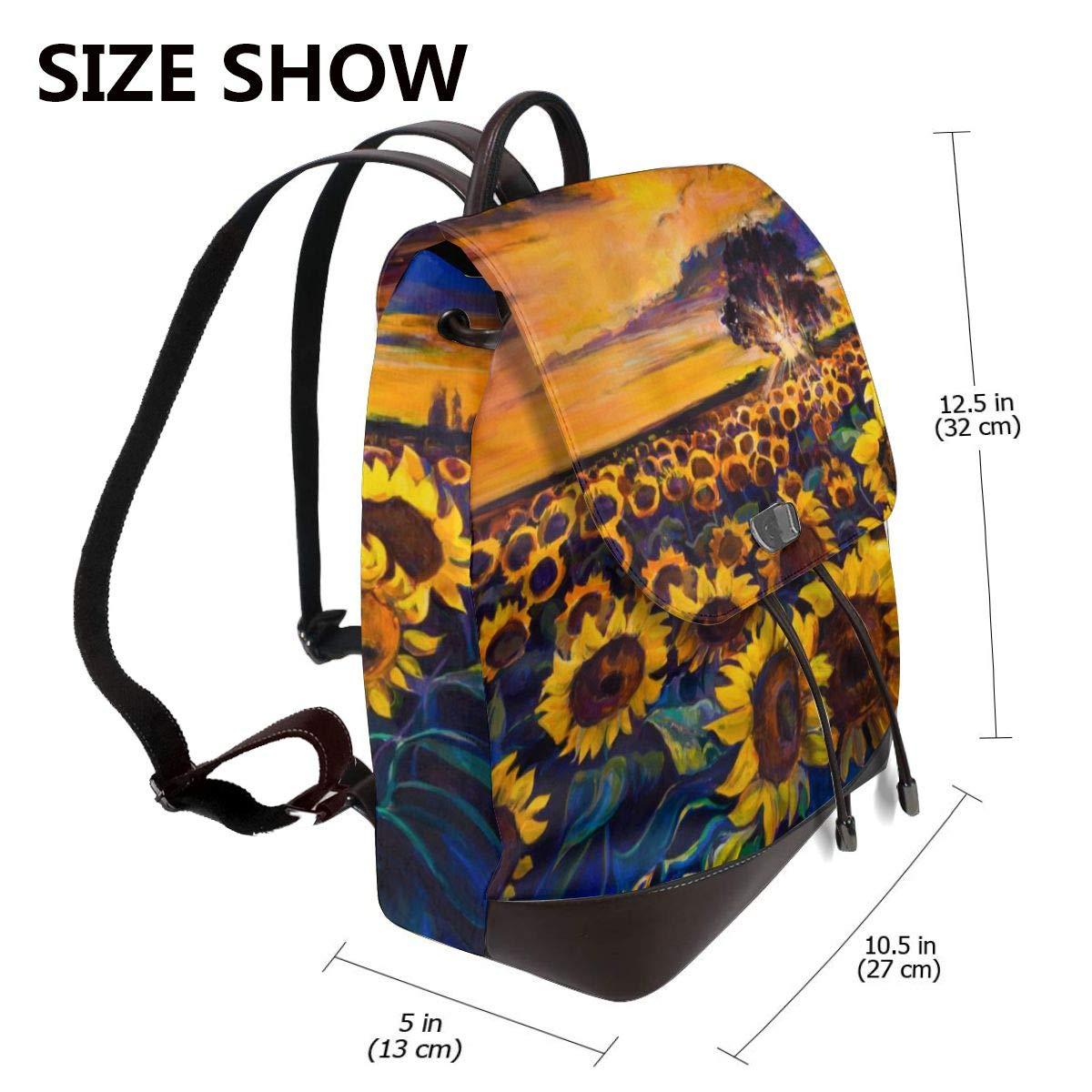 Vacker solros kvinnor mode äkta läder ryggsäck flickor resa skola mini axelväska Sunflowers Landscape
