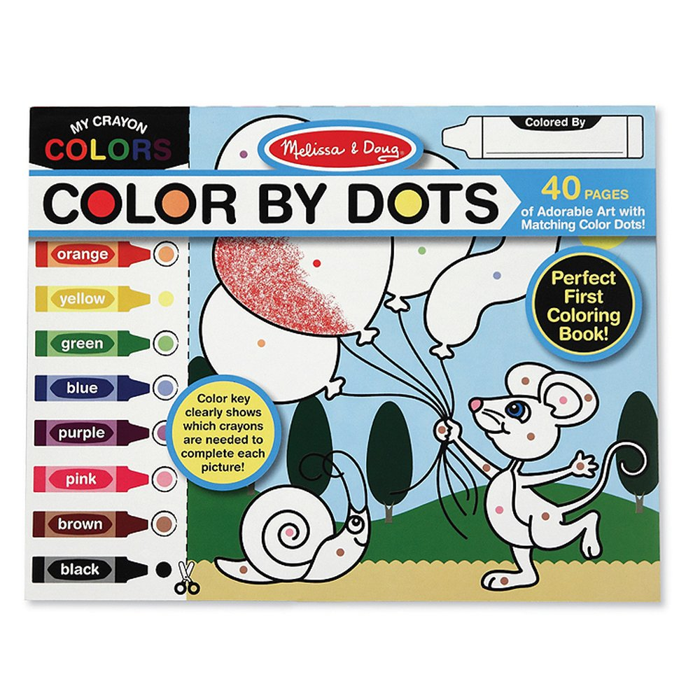 40 Pages Includes Color Key for Beginners 4006 Melissa /& Doug Color by Dots