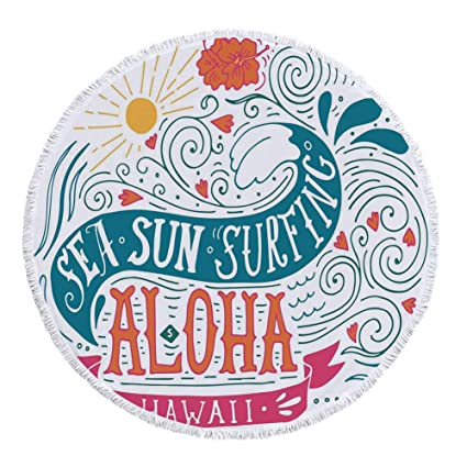 iprint Manta de Toalla de Playa, Gruesa, Redonda, Decoraciones Hawaianas, diseño de Surf Atleta de Cultura Juvenil ...