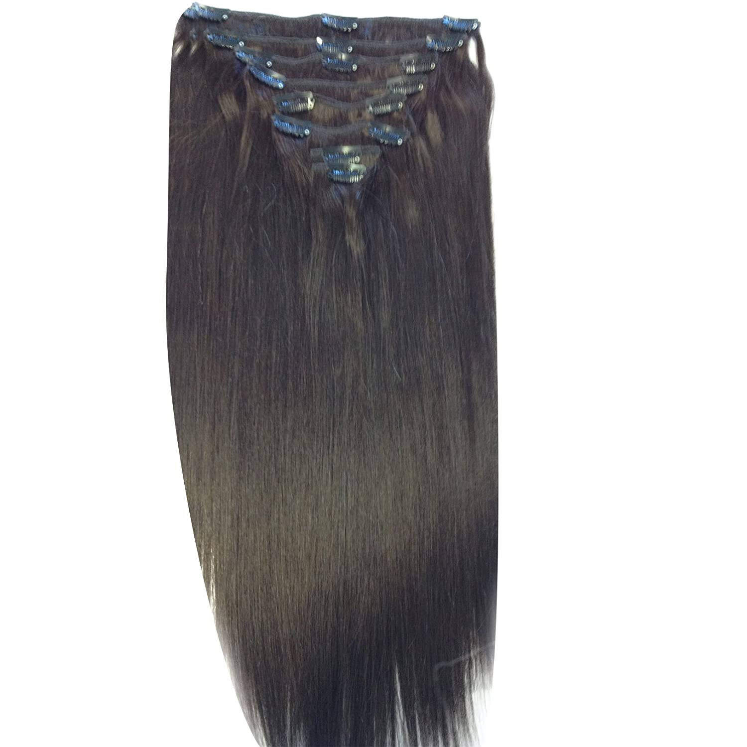 Amazon 24 Inch Dark Brown 2 Full Head Clip In Human Hair