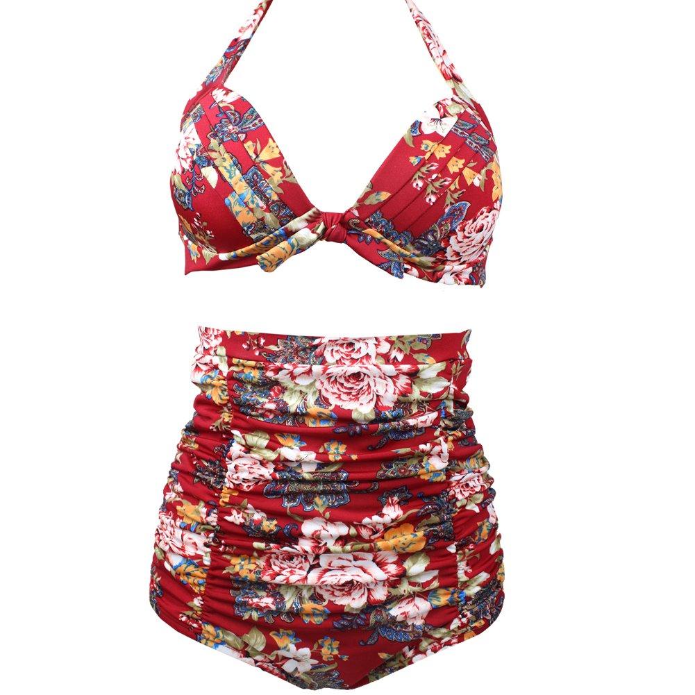 Women Retro 50s Vintage Floral High Waisted Bathing Suits Bikini