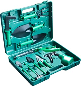 Gardening Tool Set 11 Pieces Stainless Steel Garden Tools with Portable Carrying Case, Hand Tools Gifts for Men and Women (Green)