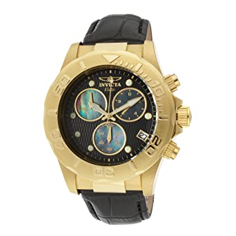 97645a435 Image Unavailable. Image not available for. Color: Invicta Men's 1721 Pro  Diver Chronograph Black Textured Dial Leather Watch