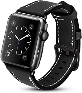 UMAXGET Compatible with Apple Watch Band 42mm/44mm 38mm/40mm Series 6, Classic Genuine Leather Replacement Strap with Black Buckle Connector Compatible with Apple Watch Series 5 4 3 2 1 Men Women