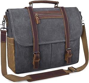 Mens Messenger Bag 15.6 Inch Waterproof Vintage Waxed Canvas Satchel Briefcase Shoulder Bag Retro Distressed Business Computer Laptop Leather Messenger Bag Grey