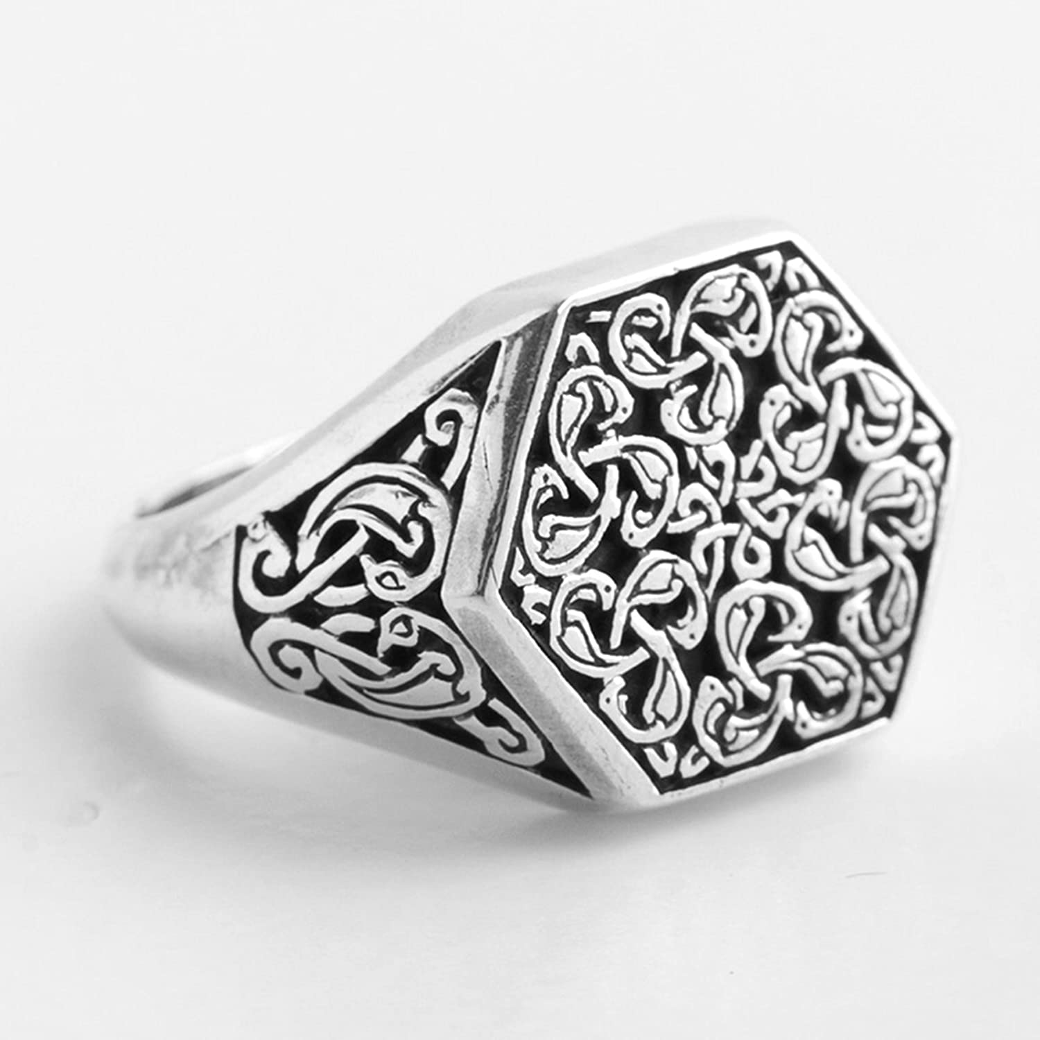 Aooaz Silver Material Ring Unisex Men Wide Hexagon Punk Ring Holiday