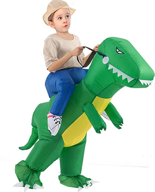Kids Green Ride On Dinosaur Costume with Sound and Light